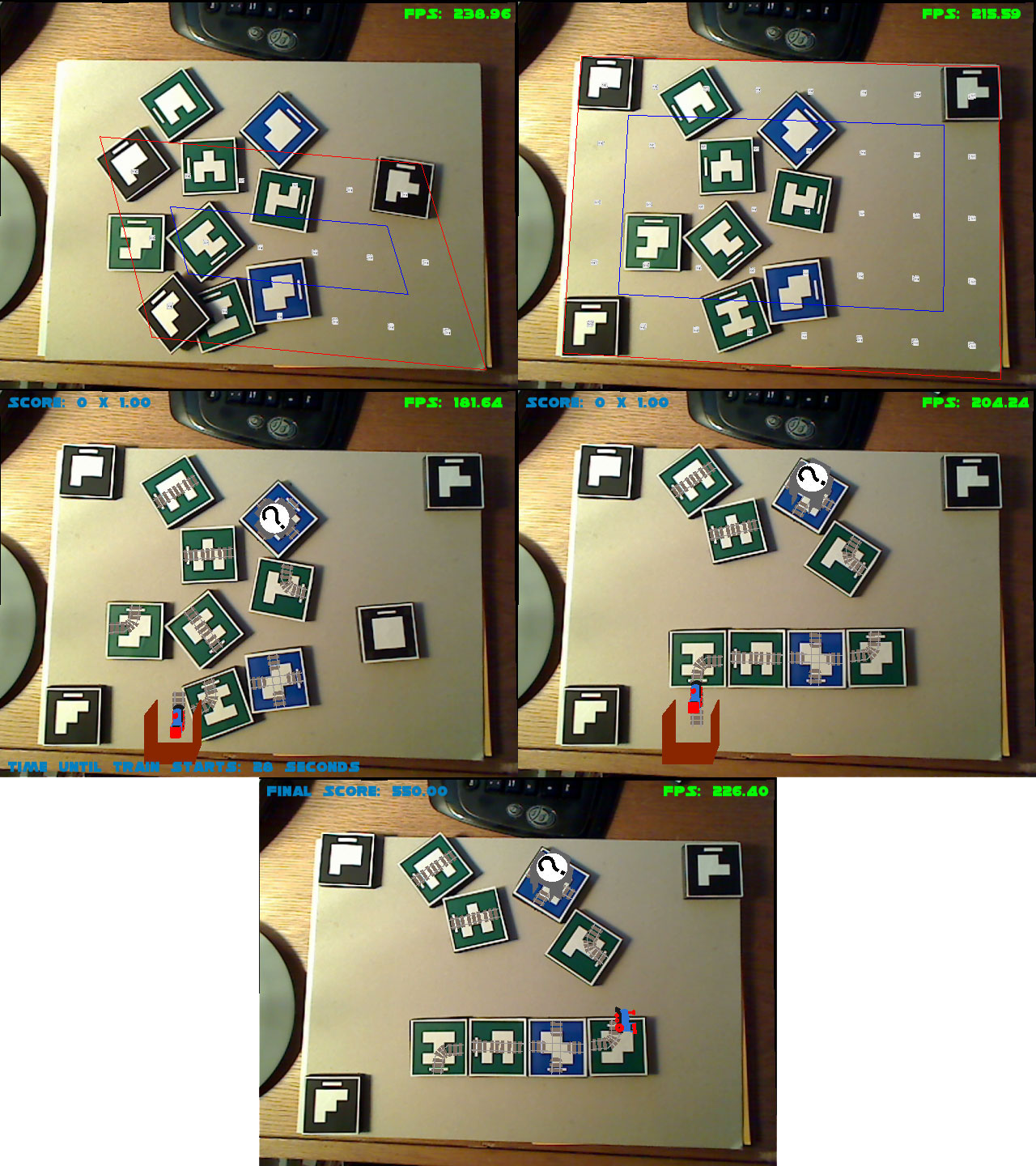Gameplay screenshots. 1) (Top Left) The game begins with all tags present, yet scattered. 2) (Top Right) Three tags help define the play area. 3) The train departure area spawns giving the player a while to orient track tags. 4) The player constructs a simple track path. 5) If the train reaches the end of the track, the game is over.