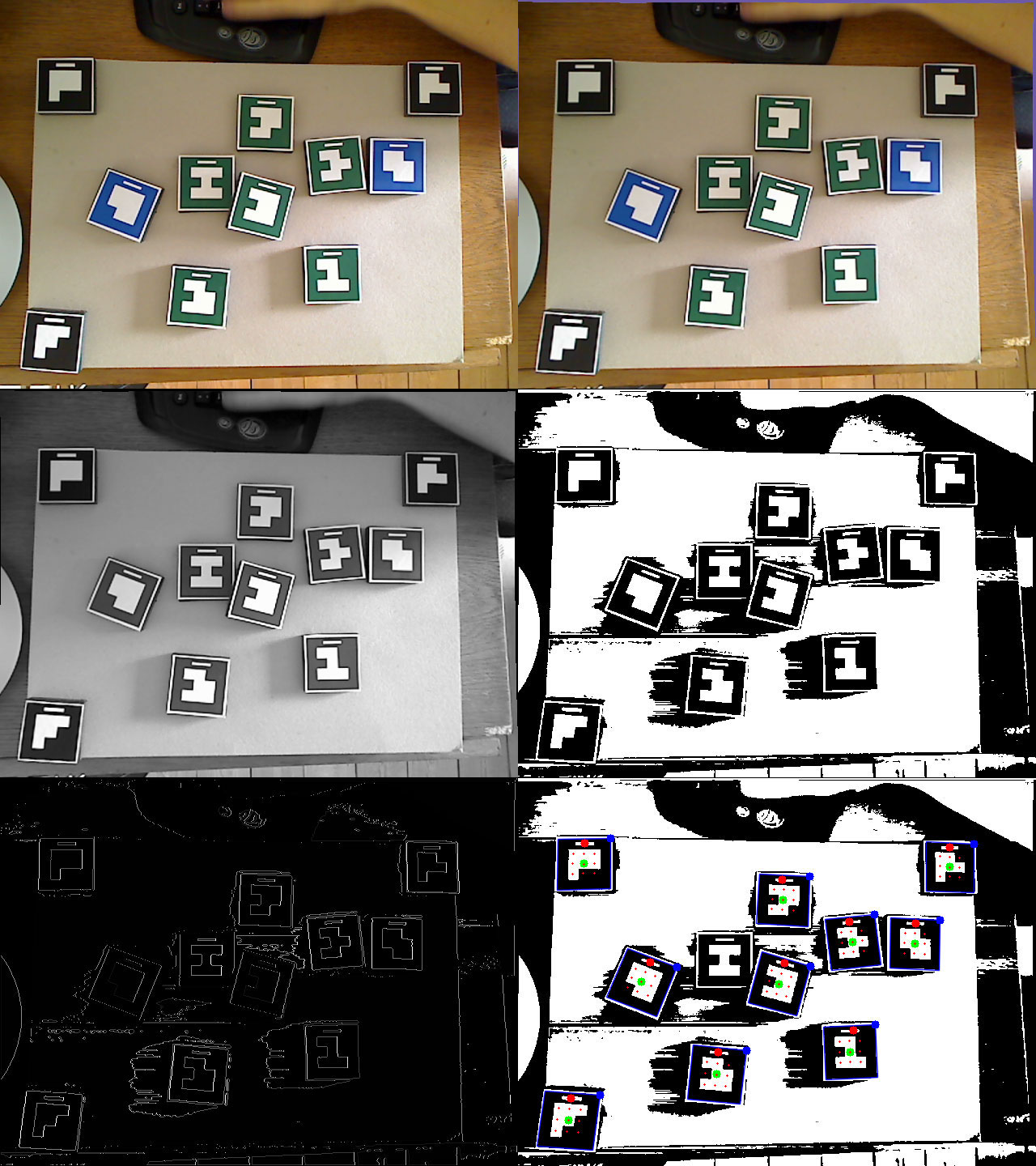 Tag detection algorithm. 1) (Top Left) The original unmodified image as recorded by the camera. 2) (Top Right) Radial distortion compensation. 3) Greyscale conversion. 4) Thresholding. 5) Edge detection. 6) Square/Tag detection.